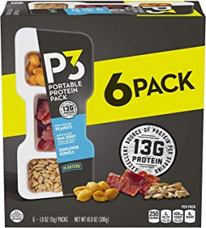 P3 With Honey Roasted Peanuts, Maple Glazed Ham Jerky & Sunflower Kernels Portable Protein Pack (1.8 oz Trays, Pack of 6) ...
