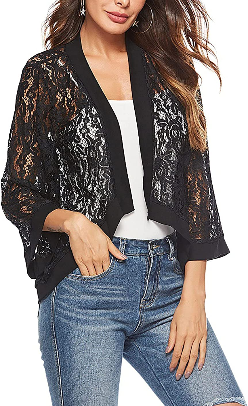 CORIRESHA Womens Shrug Sweater Open Front 3/4 Sleeve Floral Lace Bolero Cardigan