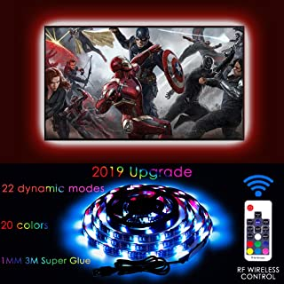 2M/6.56ft LED TV Backlight USB Bias Lighting with 20 Colors and 22 Dynamic Modes,USB Powered RGB LED Light Strip with RF Remote for 40 to 60 Inch HDTV,PC Monitor