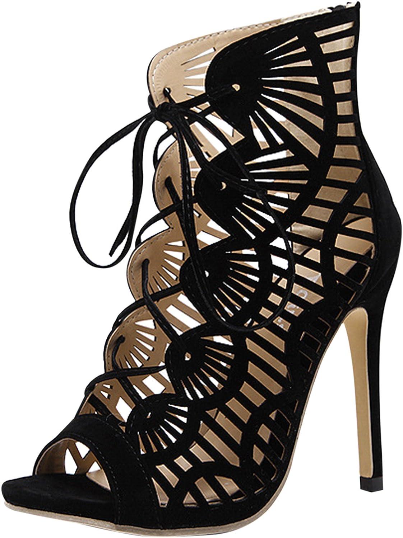 D2C Beauty Women's Summer Gladiator Peep Toe Lace-up Stiletto Sandals
