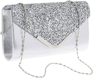 IPOTCH Womens Sequin Envelope Clutch Purses Evening Bag Handbags Detachable Chain