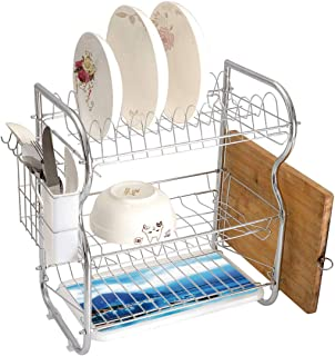 Stainless Steel 3-Tier Dish Drainer Rack Scenery Decor Kitchen Drying Drip Tray Cutlery Holder Italian Village with Harbor and Sail Boats Magical Countryside Rural Photo,Blue,Storage Space Saver