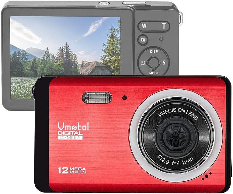 Vmotal GDC80X2 Cámara Digital compacta con Zoom Digital 8X / 12 MP/Cámara compacta HD/Pantalla TFT LCD de 28 para niños/Principiantes/Ancianos (Rojo)