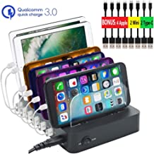 [Upgrade] GiGAWOOD USB Charging Station for Multiple Devices, Bonus - 8 Cable, 60W Quick Charge QC 3.0 6-Port Ai Wall Charger Dock for Galaxy S10 S9 Note10 iPhone 11 Pro Max XS XR X, Airpods iPad, BK