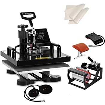 "SHZOND 5 in 1 Heat Press Machine 15""x 15"" Heat Transfer Machine for T Shirts Hat Mug Plate (5 in 1)"