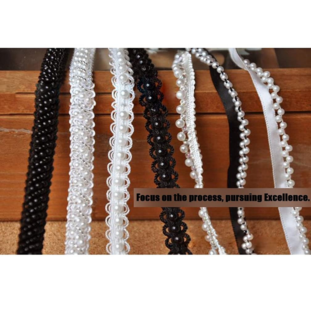 3 Yard Pearl Beaded Rhinestone Trim for Clothing Decorations and Bridal Bouquet Embellishments