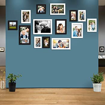 Art Street Synthetic Wood Atlantis Photo Collage Picture Frames Kit for Wall Gallery (Black and White) - Set of 14