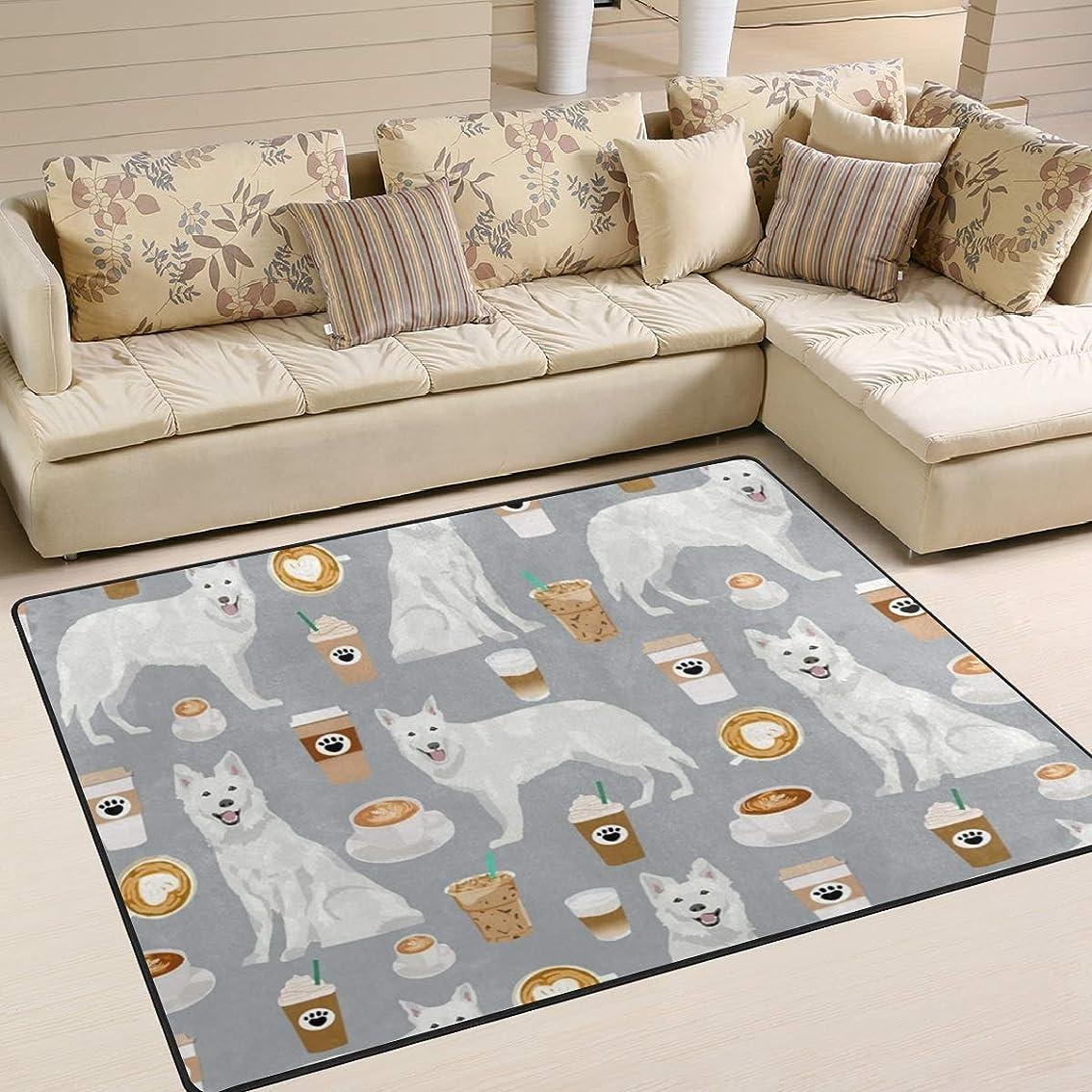 腸地下鉄信頼性のあるラグマット 滑り止め付 ラグカーペット 冬 あったか カーペット洗えるラグ 120×160(ホワイトシェパード 犬の品種 白いシェパード グレー )