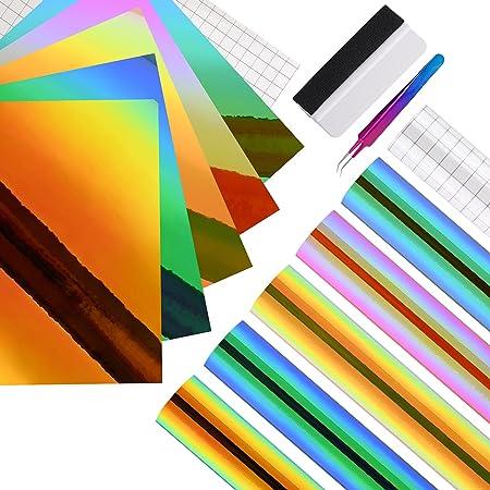 EHDIS Papier Vinyl Adhesif Holographique, 12 x 12 pouces, Vinyle Adhesif pour dans Les Travaux Manuels et La Décoration de La Maison, Holographique sombre
