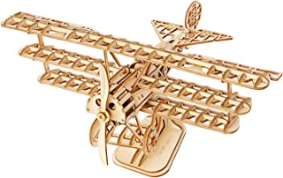 Hands Craft Airplane DIY 3D Wooden Puzzle Model Kit - Laser Cut Wooden Puzzle Craft Kit, Brain Teaser and Educational STEM DIY Building Model Toy for Kids Ages 8+ and Adults (TG301)