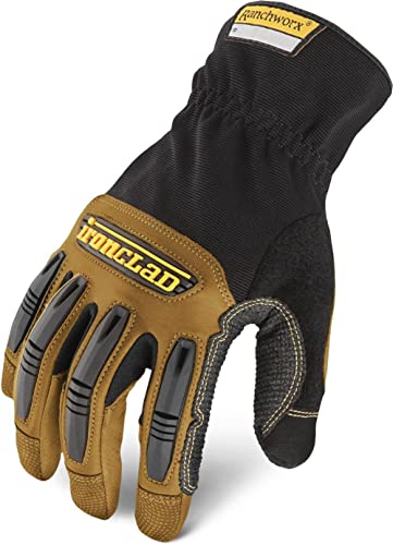Ironclad Ranchworx Leather Work Gloves, Extra Large, Black/Brown