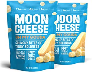 Moon Cheese Oh My Gouda, 100% Gouda Cheese Snacks, Crunchy Keto Food, Low Carb, High Protein, 10 oz. (2 Pack)