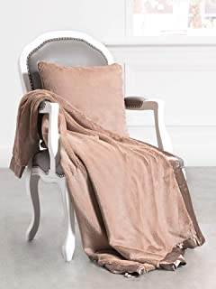Giraffe At Home Luxe Plush Faux Fur Throw Blanket, Mocha, 45