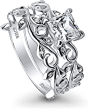 BERRICLE Rhodium Plated Sterling Silver Princess Cut Cubic Zirconia CZ Filigree Leaf Solitaire Engagement Wedding Ring Set 1.36 CTW
