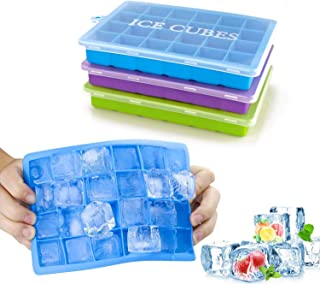 Ice Cube Trays 3 Pack, Top1Shop Silicone Ice Tray with Removable Lid Easy-Release Flexible Ice Cube Molds 24 Cubes per Tra...