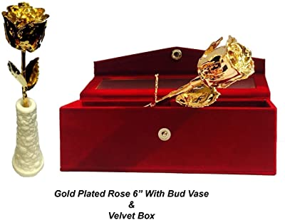 24k Gold Natural Rose Gold Dipped 6 inch with Beautiful Bud Vase + Red Velvet Box - Gift for Loves Ones, Valentine's Day, Mother's Day, Anniversary, Birthday