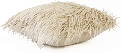 "Thro by Marlo Lorenz TH010118001E Keller Faux Mongolian Micromink Pillow, 16"" x 16"", Off-White"