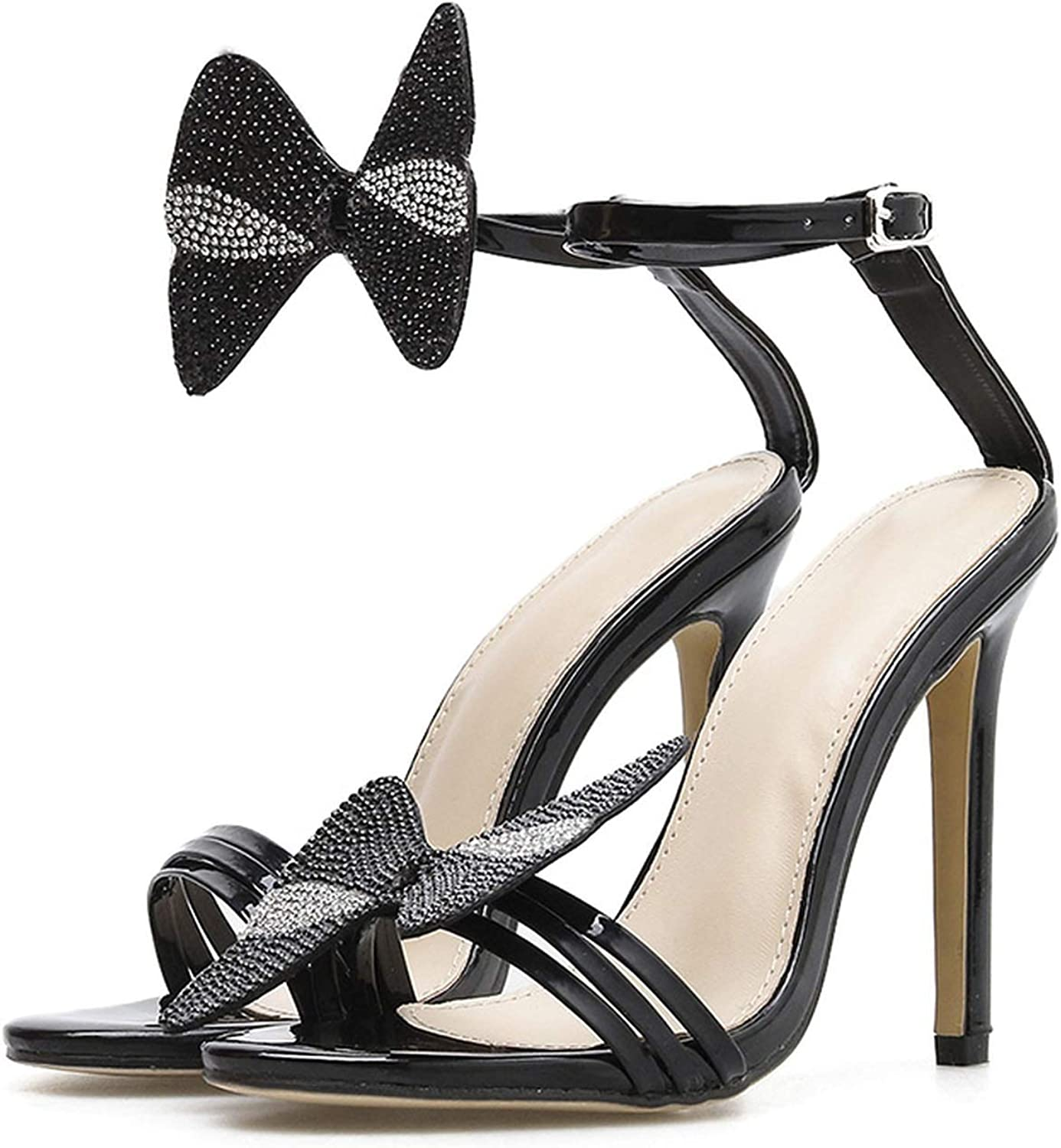 Summer Women shoes Sandals Black Bowtie High Heels Rhinestone Crystal Ankle Strap Open Toe Sandals Lady Party Sandals