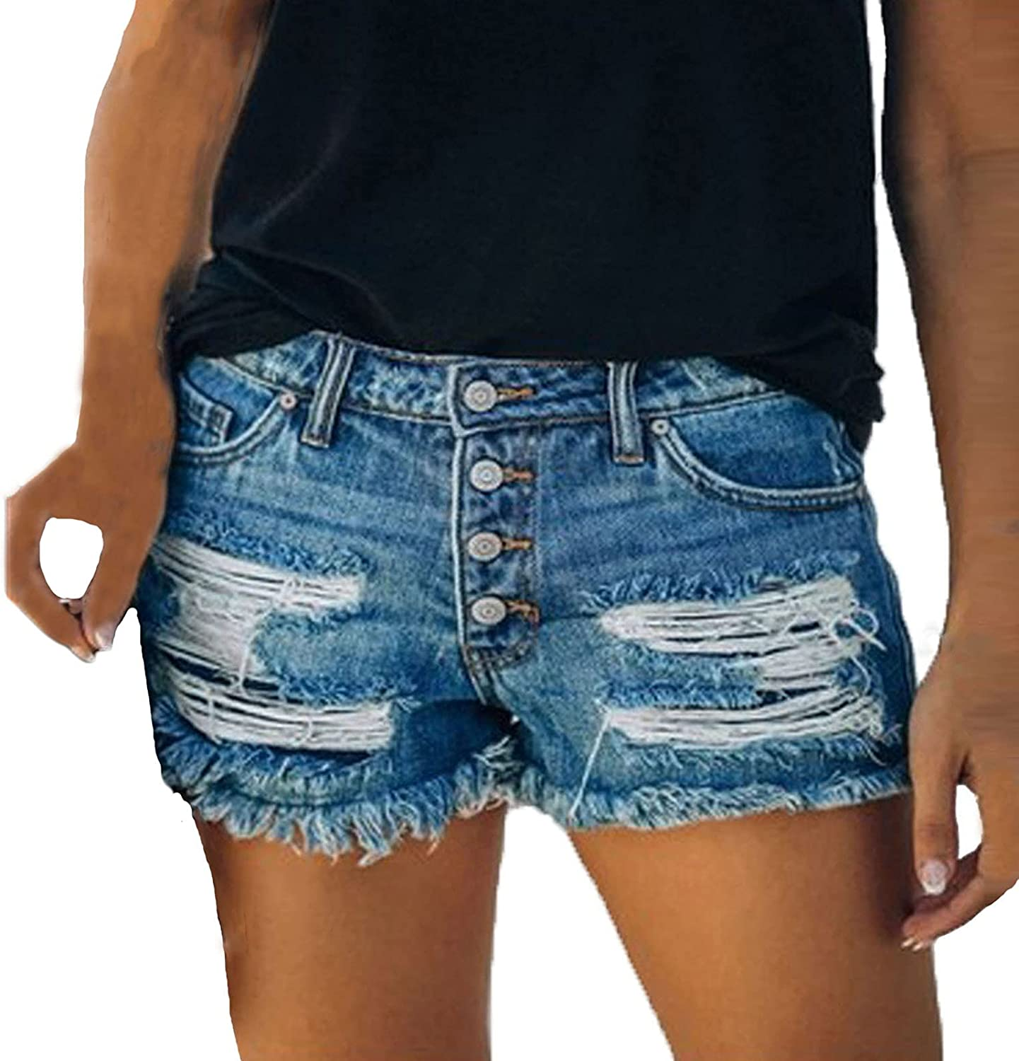 LONEA Women's Summer Sexy Ripped Four Button Denim Shorts Back Pocket Symmetrical Independence Day Printed Shorts