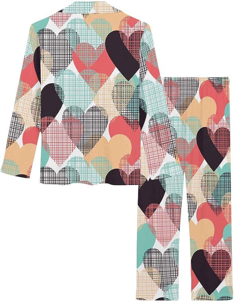 InterestPrint Women's Nightwear Notch Collar Loungewear with Long Pants Hearts Pattern