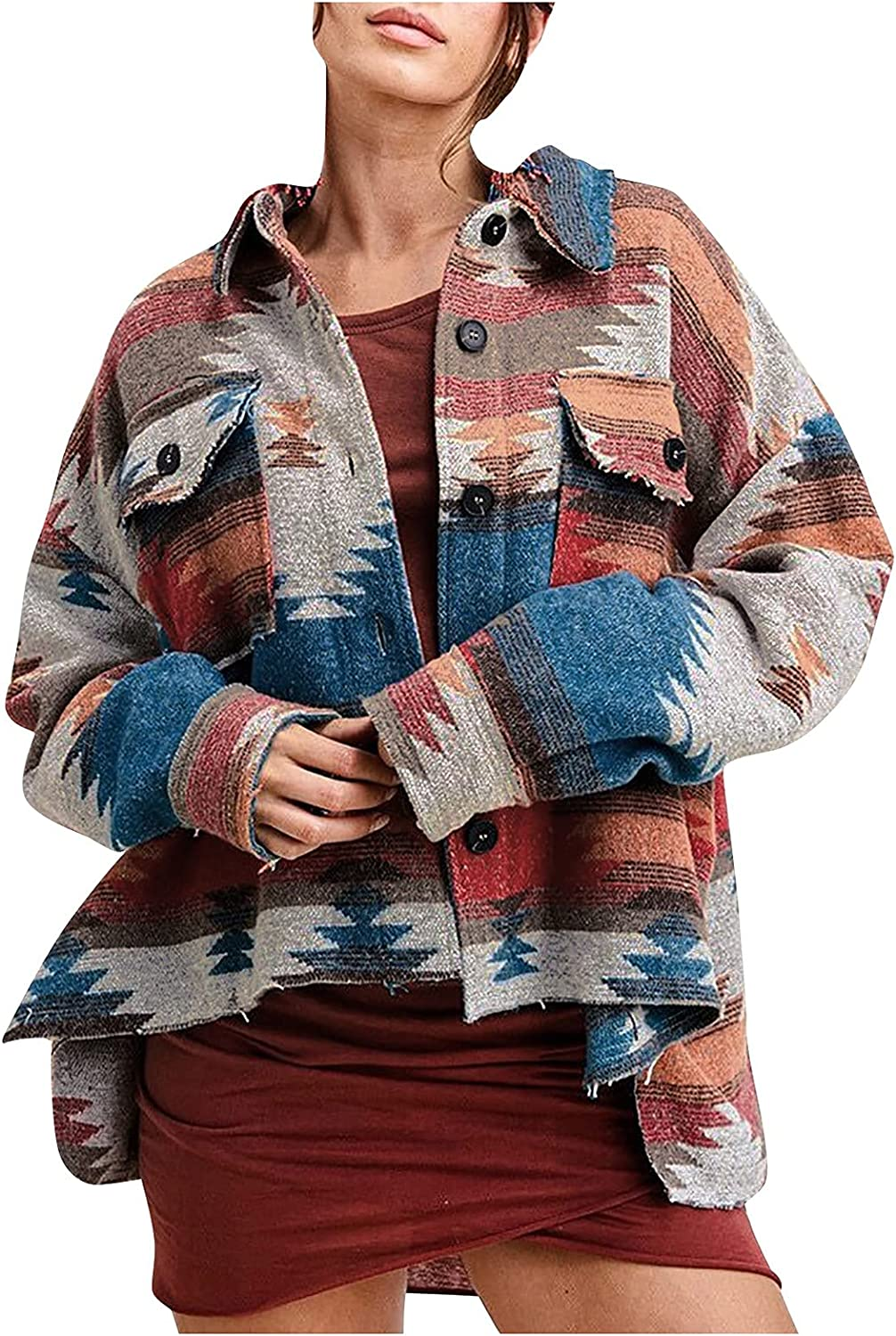 VonVonCo Cardigan Sweaters for Women Lapel Collar Geometric Prints Relaxed Loose Plus Size Jacket Coat