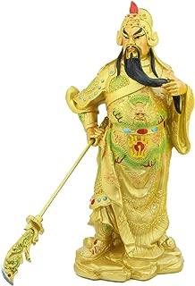 Feng Shui Import Golden Standing Guan Gong Statue Holding Guan Dao