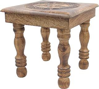 DharmaObjects Solid Mango Wood Hand Carved Puja Shrine Altar Meditation Table (Pentagram Star)