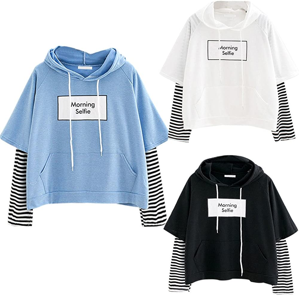 Women's Fashion Hoodies & Sweatshirts Stitching Striped Long Sleeve Shirts Trendy Loose Blouse Cute Pullover Tops