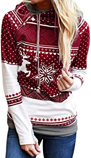 SEXYTOP Women Xmas Snowflake Elk Printed Hoodies Long Sleeve Sweatshirt Christmas Pullovers with Zipper and Drawstring