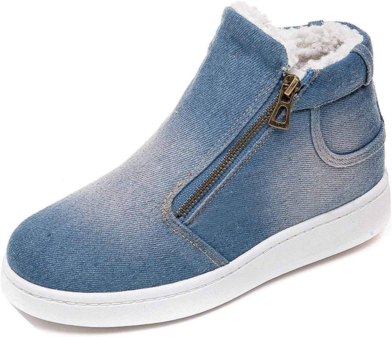 SmarketL Winter Women Denim Snow Boots Warm Fleeces Classic High Top Round Toe Flat Casual Boots,