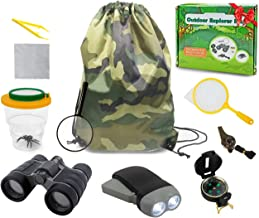 edola Kids Explorer Kit Gifts Toys, 3-10 Years Old Boys Childrens Kids Outdoor Adventure Exploration Set incl Binoculars,Flashlight, Compass,Whistle,Magnifying Glass,Tweezer,Bug Viewer,Backpack