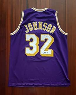 89ace881064 Earvin Magic Johnson Autographed Signed Jersey Los Angeles Lakers Beckett