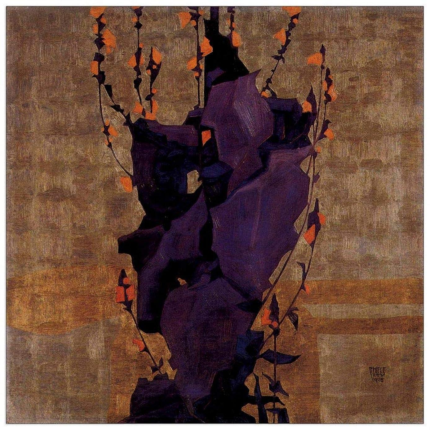 ArtPlaza TW91470 Schiele Egon-Stylized Floral Background, Style of Life Decorative Panel 31.5x31.5 Inch Multicolored