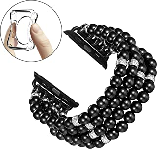 Fastgo Compatible for Apple Watch Band 38mm 40mm, Handmade Beaded Elastic Stretch Bracelet Replacement Compatible for iWatch Strap Series 4/3/2/1(Black - 38mm)
