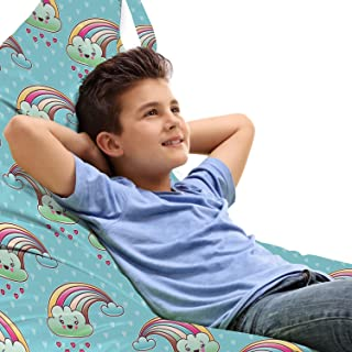 Ambesonne Anime Toy Bag Lounger Chair, Cartoon Rainbow Clouds with Smiling Faces on Pale Blue Background with Hearts, High Capacity Stuffed Animal Storage with Handle, Multicolor
