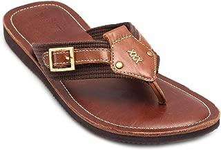 tZaro Genuine Leather Tan & Brown Slippers - Simon, SLPCLD1904TN