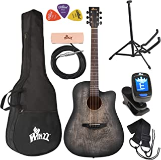 WINZZ 41 Inches Cutaway Carved Acoustic Guitar Beginner Starter Bundle with Padded Bag, Stand, Tuner, Pickup, Strap, Picks