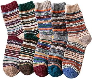 MYhose 5 Paires de Chaussettes d'équipage en Tricot épais pour Hommes Ethniques mûres géométriques Hiver Chaud Bonneterie ...