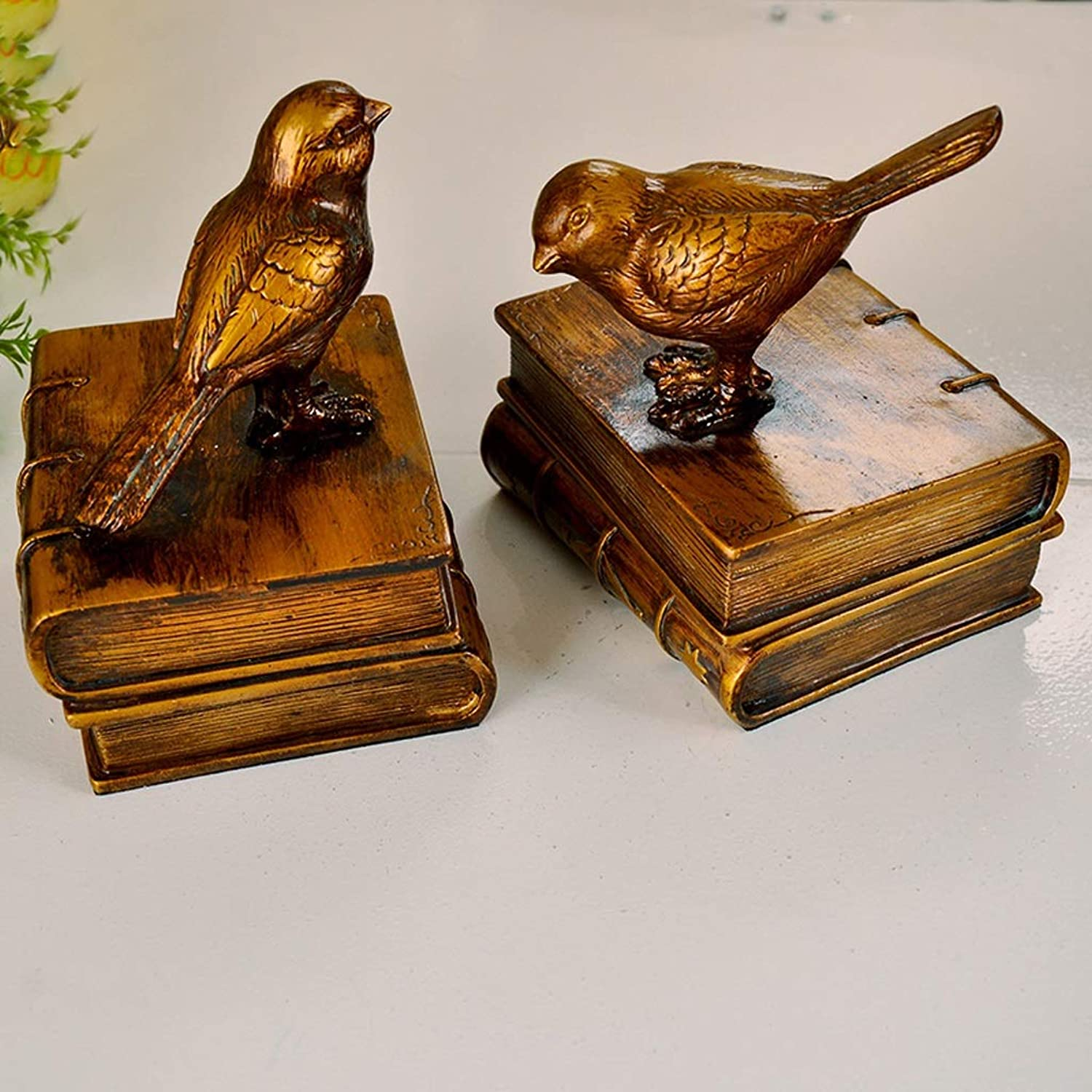 GLJJQMY Vintage Antique Copper Bird Bookend Decorations Decorative Bedroom Room Counter Desk Personalized Practical Ornaments 13.2x10.5x15.5cm Bookcase