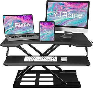 YJHome 32 Inch Standing Desk Converter Adjustable Height Desk Workstation Tabletop Sit Stand Up Desk Riser Black Folding S...