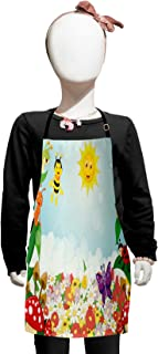 Lunarable Animal Kids Apron, Bee Butterfly Ant Ladybug Snail Floral Mushroom Caterpillar Baby Animal Spring Image, Boys Girls Apron Bib with Adjustable Ties for Baking Painting, Kids Size, Green Fern