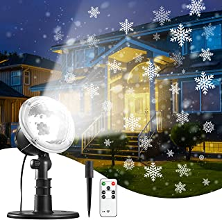 Snowflake Projector Light with Remote & Timer Setting, IP65 Waterproof for Garden House Outdoor Indoor Xmas Snowfall Snow LED Projection Decoration for Christmas, Valentine's Day, Wedding, Party
