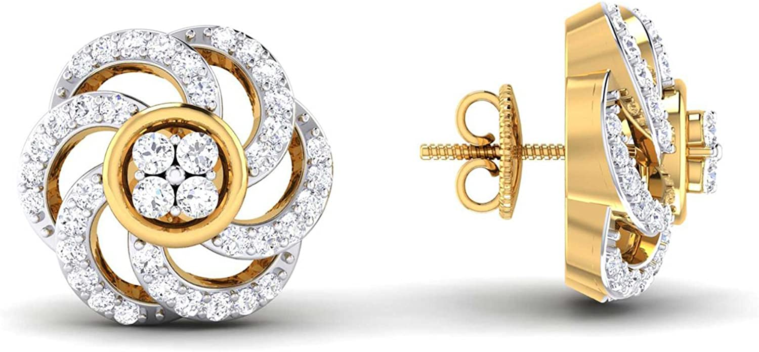 3djewels Women's 0.45Cts Round Simulated Diamond Modern Floral Earring 14K Yellow gold Plated