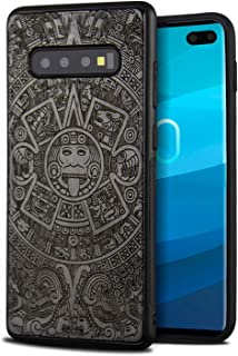 YFWOOD Compatible for Galaxy S10 Plus Case, Cool Wood Engraving Totem Design Shockproof Drop Proof Ultra Slim Bumper Protective Cover for Samsung Galaxy S10 Plus Case