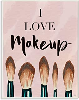 Stupell Industries I Love Makeup Text Pink Fashion Cosmetic Brushes Wood Art by Elizabeth Tyndall Wall Plaque, 13 x 19