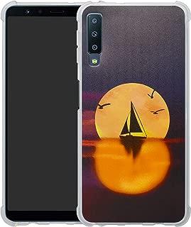 HHDY Samsung Galaxy A7 2018 Case,[Ultra Lightweight] Reinforced [4-Corners Bumper] Flexible TPU [Pattern Design] Cover for Samsung Galaxy A7 A750 2018,Sailboats & Moon