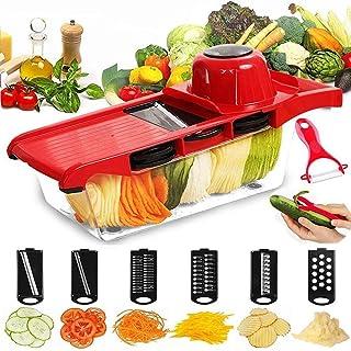 ZJZ Mandoline Mandoline Coupe-légumes manuel à main râpe à fromage 6 lames interchangeables avec éplucheur
