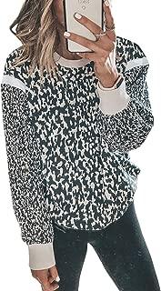Women's Leopard Print Long Sleeve Crew Neck Fit Casual...