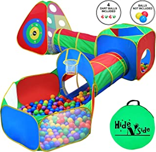 5pc Kids Ball Pit Tents and Tunnels, Toddler Jungle Gym Play Tent with Play Crawl Tunnel Toy, for Boys babies infants Children, Pit Balls NOT Included, Indoor Outdoor Gift, Target Game w/ 4 Dart Balls