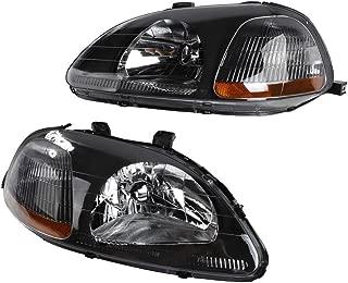 2PC Driver & Passenger Headlights Headlamps Set Replacement fit for 1996 1997 1998 Honda Civic Black